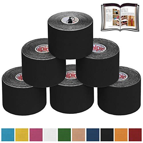 6 x Kinesiologie Tape 5 cm x 5 m in verschiedenen Farben von Alpidex, Farbe:schwarz