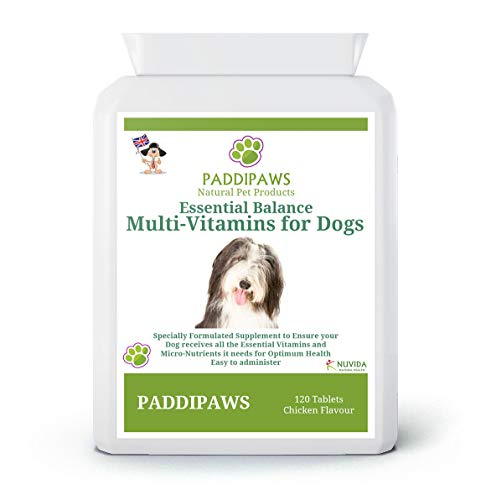 PADDIPAWS Multivitamins for Dogs - 24 Multivitamins, Minerals & Nutrients to ensure your dog receives all the essential Vitamins and Micro-nutrients it needs for optimum health.