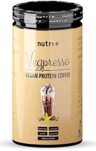 PROTEINKAFFEE Vanille - Nutri-Plus Vegpresso Eiweiß Kaffee mit Koffein - Protein Coffee Pulver - laktosefrei - glutenfrei - Low Sugar - ideal zum Muskelaufbau und als Booster