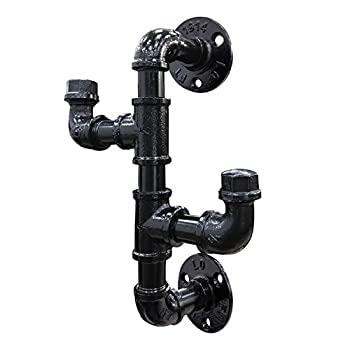 Industrial Rustic Pipe Coat Rack Double Black Pipe Coat Hooks Pipe Holder Cast Iron Pipe Hardware Vertical Wall Mounted Black Electroplated Finish Bag Rack Wall Vertical