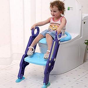 Sinbide Escalera Asiento Escalera del Tocador de Niños, Reductor WC para Niños Acolchado Suave con Escalón Plegable Abatible Ajustable, Antideslizante (Azul-Violeta)
