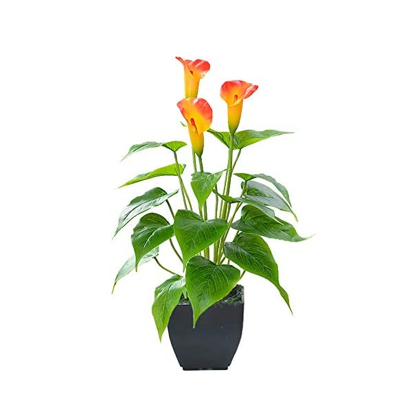 Artificial Flower Calla Lily Faux Potted Plant with Black Pot Fake Bonsai Flower for Home, Office, Indoor and Outdoor Occasions Decor