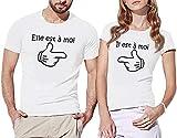 T-Shirts Premium Couple (x2) Existe en Blanc ou Noir, Homme et Femme, taille de S à XL, Coupe ajustée, idée cadeau Saint Valentin
