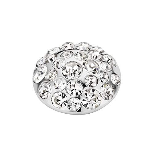 MelanO Vivid Ringaufsatz Anemonen - Form Edelstahl mit Zirkonia in Farbe Kristall 11 mm VM16