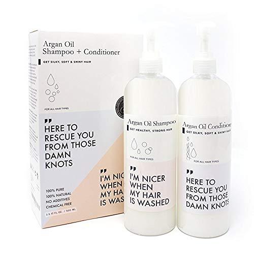 Huile D'argan Shampooing et Après-shampooing Grand 473ml X2   Huiles de Macadamia et D'argan Jojoba pour Cheveux Secs et Abîmés, Cuir Chevelu Irritant, Pousse des Cheveux, Exempte de Sulfate