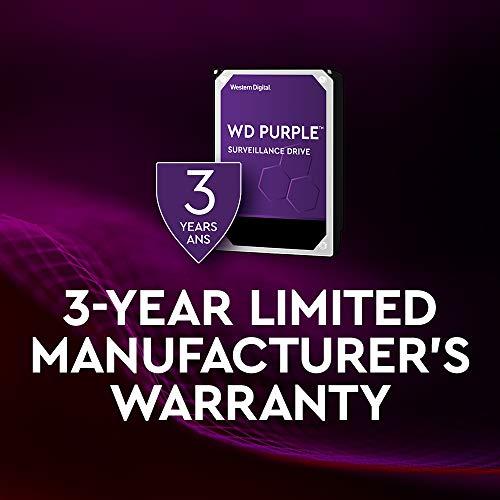 Western Digital WD Purple 6TB para videovigilancia - 3.5 pulgadas SATA 6 Gb/s disco duro con tecnología AllFrame 4K - 180TB/yr, 64MB Cache, 5400rpm - WD60PURZ