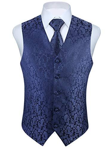 Enlision Gilet da Abito da Uomo Panciotto Paisley Cravatta Fazzoletto da Taschino Set Cerimonia Festa Elegante Vestito Giacca Blu Navy