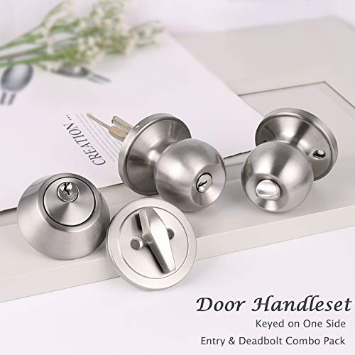 All Keyed Same Entry Door Knobs with Single Cylinder Deadbolt for Exterior Front Doors, Satin Nickel Finish, Come with Same Keys, Contractor Pack of 6