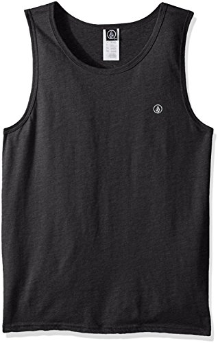 Volcom Men's Solid Tank, Heather Black, LARGE