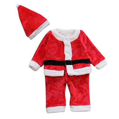Le SSara Inverno del bambino Natale pagliaccetto neonato Body Costume vestito cappello 2 pz (6-12 Mesi)