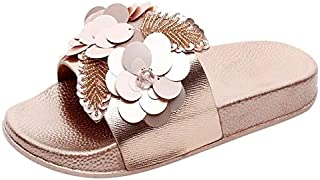 Slippers Women Slides Summer Bow Summer Sandals Slipper Indoor OutdoorFlip-flops Beach Shoes Female Floral Shoes Elegant beautiful slippers (Color : Gold, Shoe Size : 41)