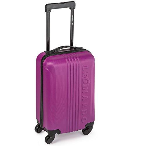 Leonardo Koffer Reisekoffer Trolley Koffer Handgepäck Boardcase (Pink)