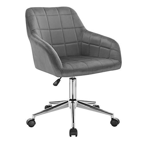 WOLTU BS79dgr 1x Bürohocker Arbeitshocker Schreibtischstuhl Drehhocker Rollhocker Rollstuhl Bürostuhl stufenlos höhenverstellbar mit Rückenlehne und Armlehnen aus Samt Dunkelgrau