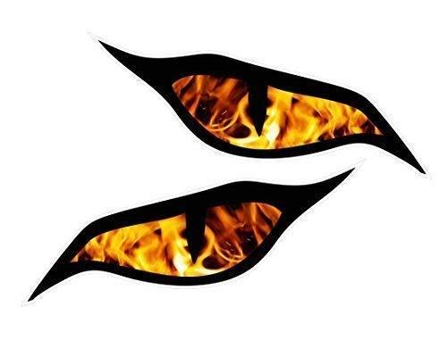 Paar Evil Eyes Aufkleber mit Orange Flammen Fire Motiv Vinyl Auto Motorrad Helm Aufkleber Aufkleber je 70x 30mm
