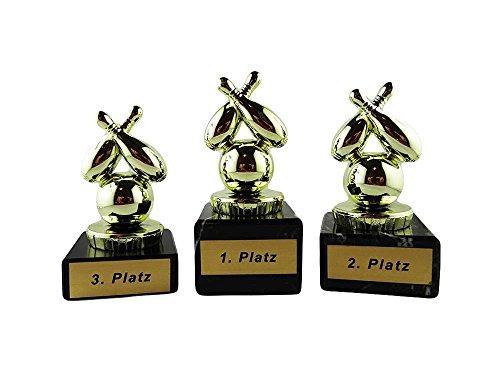 Bowling-Pokale mit Gravur (1. - 3. Platz) und 3 Bowling-Anstecknadeln (Sticker)