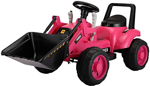 TOBBI Excavator Ride Toy for Kids,Power Wheel Pedal Tractor with Working Loader,Front Loader Digger,Pink