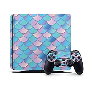 PS4 Slim Skins Console and Controller by ZOOMHITSKINS, Same Decal Quality for Cars, Mermaid Skales Pastel Pink Waves Baby Blue Glossy Light Navy Aqua Cute, Fit PS4 Slim, Made in USA