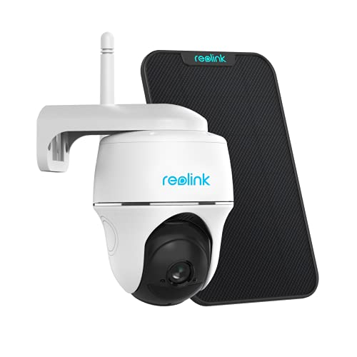 Reolink Argus PT w/ Solar Panel - Wireless Pan Tilt Solar Powered WiFi Security Camera System w/ Rechargeable Battery Outdoor Home Surveillance, 2-Way Talk, Support Alexa/ Cloud