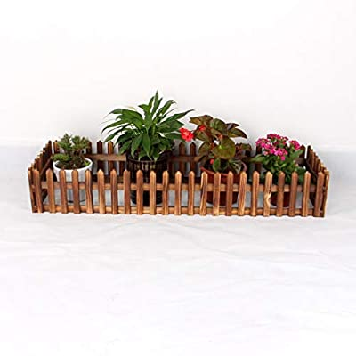 Luwint Miniature Decorative Wooden Edging?| Expandable Home Indoor Garden Border Grass Lawn Picket Edge Fence Decoration (31?L x 16?W)