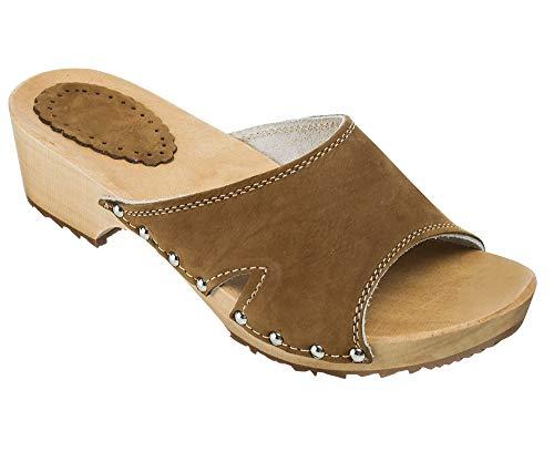 ESTRO Zuecos De Madera para Mujer Calzado Sanitario De Trabajo CDL04 (Beige, 36)
