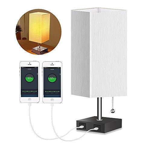HENZIN Lámpara de mesita de noche, lámpara de mesa con 2 puertos USB, lámpara de escritorio de tela, lámpara de noche para dormitorio, salón, oficina, color blanco