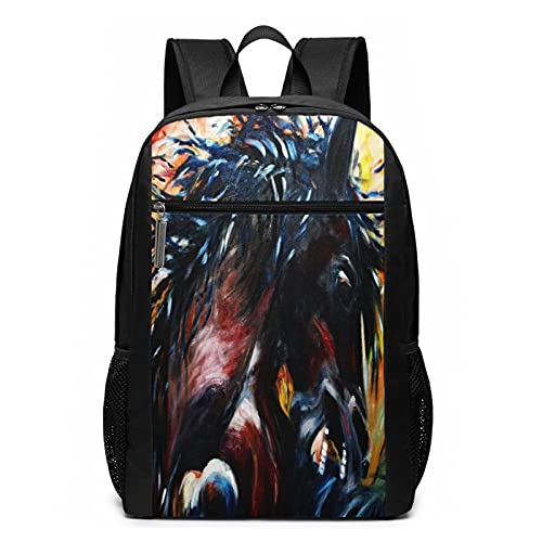 School Backpack Arabian Horse 65, College Book Bag Business Travel Daypack Casual Rucksack for Men Women Teenagers Girl Boy