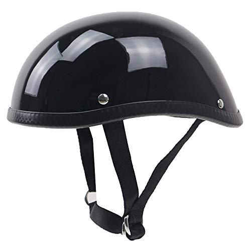 MOMAMO Motorradhelm, Retro Halbhelme ECE-Zertifizierung Black Jethelme Braincap Bobber Halbschalen · Mofa Motorrad-Helm Chopper Scooter-Helm Roller