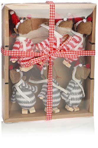com-four® 6X Premium Weihnachtselch-Anhänger für den Weihnachtsbaum, Verschiedene Christbaum-Figuren Anhänger als Baumbehang, Weihnachtsschmuck oder Geschenk-Anhänger