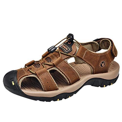 Kaister Outdoor Herren Leder Wohnungen Casual Strand Sportschuhe Atmungsaktive Sport Sandalen Rutschfeste atmungsaktive Sandalen mit weichem Boden shoes