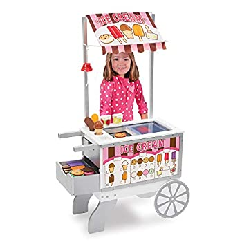 Melissa & Doug Wooden Snacks and Sweets Food Cart - 40+ Play Food pcs Reversible Awning Multi Colored