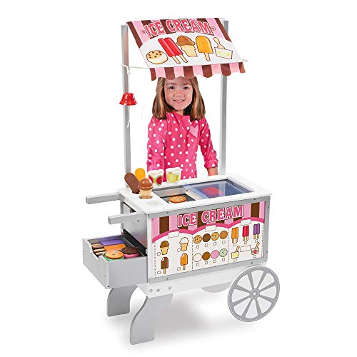 Melissa & Doug Wooden Snacks and Sweets Food Cart - 40+ Play Food pcs  Reversible Awning