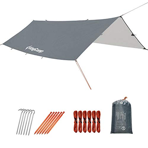 KingCamp UV Protection UPF50+ Waterproof Camping Tent Tarp 9.8' x 9.8' Easy Setup Windproof Lightweight Rain Fly Sunshade Shelter Canopy for Hammock Hiking Backpacking Picnic Outdoors, Gray