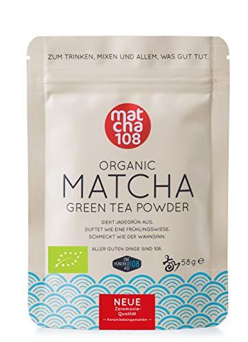 Matcha poeder thee 108 - Bio Zeremonie kwaliteit (voor mild theegenot) - Ideaal voor smoothies en lattes - gecertificeerd groene thee poeder [58g Ceremonial Grade Green Tea]
