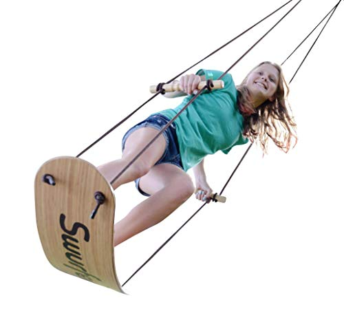 Swurfer The Original Tree Swing with Skateboard Seat Design and Adjustable Handles… (Bamboo-Limited Edition)