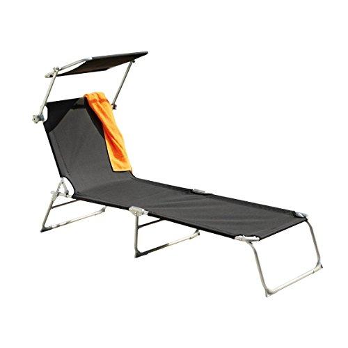 greemotion 3-Bein-Strandliege Texel silber/schwarz, klappbare Gartenliege mit verstellbarer Rückenlehne, Strandliege mit Sonnenschutzdach, Liege aus robuster Textilene, leichtes Aluminiumgestell
