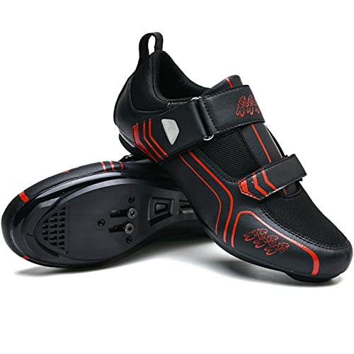 ASORT Zapatillas Ciclismo Carretera Hombre, Zapatos para Montar en Bicicleta Hebilla Compatible con Cala Transpirable Compatible con SPD para Carreras en Interiores y Exteriores,Black-47EU