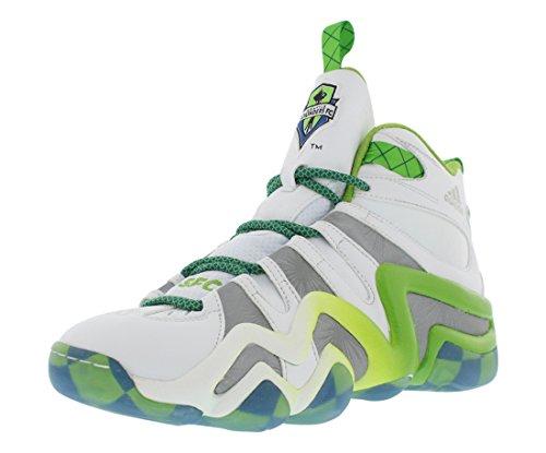 Adidas Crazy 8 Mens Basketball Shoe 8 White-Silver Met-Black