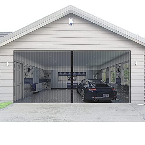AURELIO TECH Magnetic Garage Door Screen for 2 Car 16x7 ft Single Garage Door Mesh Screen Curtain Cover Kit with Hook and Loop