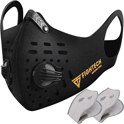 FIGHTECH Anti Pollution Dust Mask with 2 Carbon Filters for Pollution Pollen Allergy Woodworking Mowing | Washable and Reusable Neoprene Half Face Mask | Black, Large