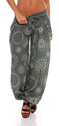 Malito Mujer Bombacho en Muchos Colores y Patrones Pantalón Yoga S3417 (Oliva 3481, Adecuado de la Talla 36 hasta 44)