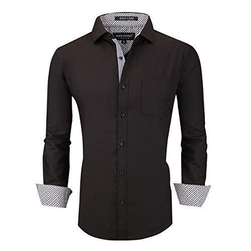 Alex Vando Mens Dress Shirts Wrinkle Free Regular Fit Stretch Bamboo Men Shirt,Black,L