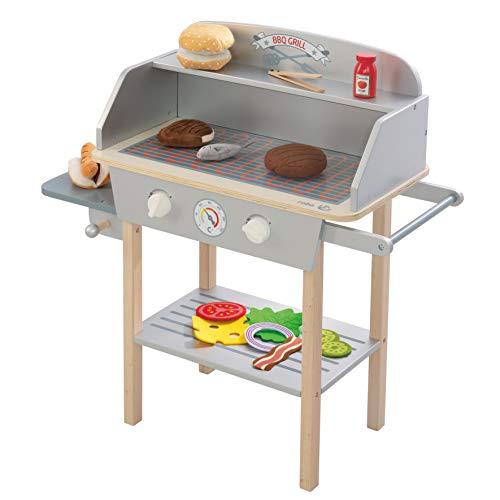 roba BBQ Grill aus Holz, mit 14-teiligem Stoffzubehör, Spielzeug Barbecue Grill für Kinder, Rollenspielzeug für Jungen und Mädchen ab 3 Jahren