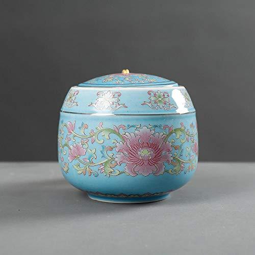Gulunmun Ataúdes de Mascotas cremaciones pintadas a Mano urnas de cerámica ataúd conmemorativo de Perros Gatos adecuados para almacenar Todas Las Cenizas Mascotas-Azul Cielo