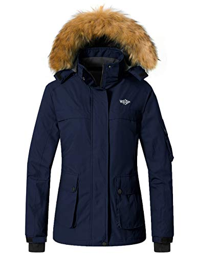 Wantdo Women's Waterproof Snow Fleece Jacket Warm Outwear Raincoat Dark Blue XL
