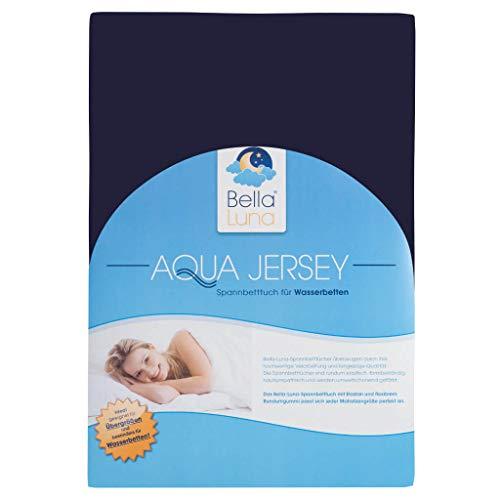 Bella Luna Jersey Spannbettlagen für Matratzen Boxspringbetten und Wasserbetten in Übergröße 180-200 x 200-220 cm Marineblau