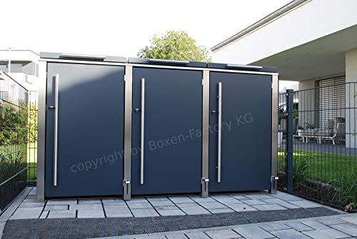 Boxen-Factory KG 3er Edelstahl Mülltonnenbox für 240 Liter Tonnen in Anthrazit RAL7016 -matt- mit Klappdach und Fußöffnung