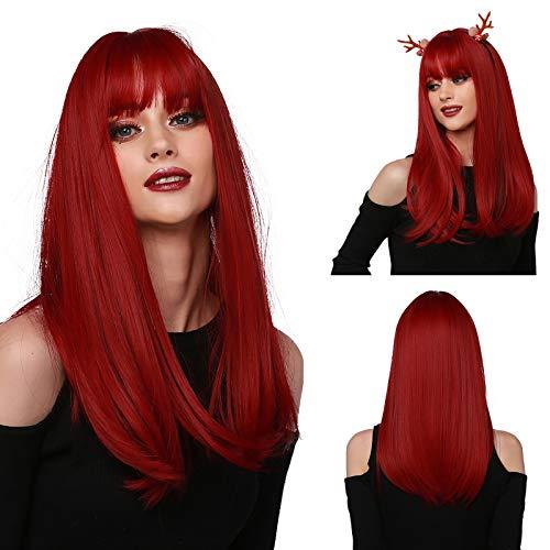 Emmor lange rote Perücke für Frauen Naturhaar Synthetische gerade Perücken mit ordentlichem Pony Vollperücken Täglicher Gebrauch
