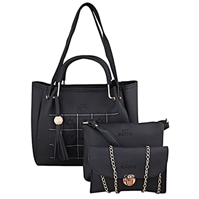 PU Leather Latest Trendy Fashion Ladies Top Handle Handbag With Sling Bag Shoulder Bag & Clutch 3pice Combo Purse Set For Women And Girl Bag