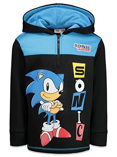 SEGA Sonic The Hedgehog Little Boys Fleece Hoodie Zip Up Pullover Sweatshirt 6 Black