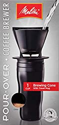 Melitta Single Cup Pour Over Coffee Brewer with Travel Mug, Black (2 Pack)